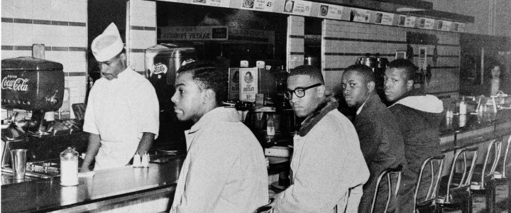 Day 2 of Woolworth Sit-In: (L to R) Joseph McNeil, Franklin McCain, Billy Smith & Clarence Henderson, 02/02/60.